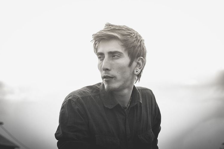 Bad Boy  Black And White Casual Clothing Close-up Confidence  Cool Fog Front View Handsome Headshot Leisure Activity Lifestyles Outdoors Portrait Triangle