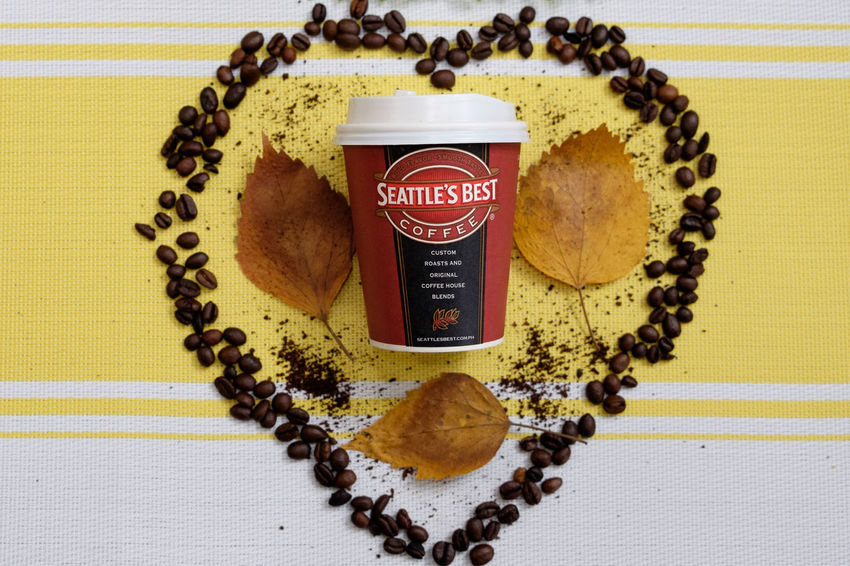 seattle hearts Coffee Seattle Best Coffee Coffee Heart Indoors  Close-up Directly Above Food And Drink Yellow Table No People High Angle View Creativity Heart Shape Text Freshness Still Life Food Communication Circle Brown Geometric Shape Shape Pattern