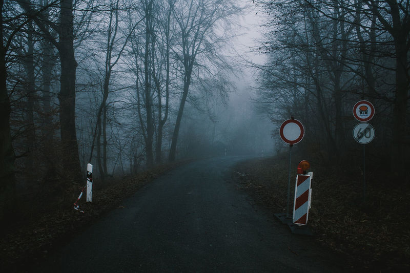 Fog Mist EyeEm Selects Foggy Morning Mistery Nature Natur Woods Forest Tree Basketball - Sport Sky Bare Tree Road Sign Lone Do Not Enter Sign Stop Sign Directional Sign Dead Plant Foggy