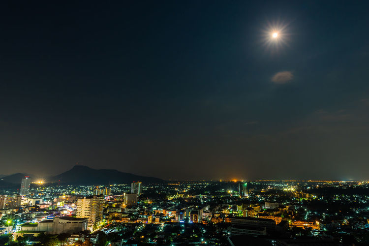 moon light over the city City Cityscape Urban Skyline Illuminated Skyscraper Modern Moon Nightlife Mountain City Life Full Moon Astronomy Moonlight