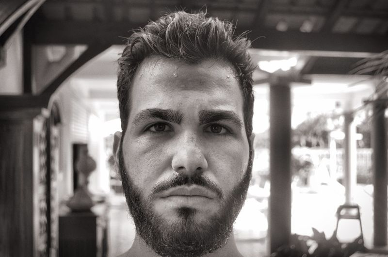 Portrait details Black And White Portrait Headshot One Person Beard Young Men Focus On Foreground Looking At Camera Facial Hair Front View Young Adult Real People Close-up Men Architecture Lifestyles Mid Adult Leisure Activity Mid Adult Men Human Face