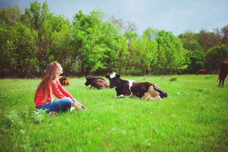 Grass Togetherness Full Length Domestic Animals Tree Mammal Animal Themes Green Color Dog Pets Bonding Real People Lifestyles Friendship Nature Sky Outdoors Day Young Adult People