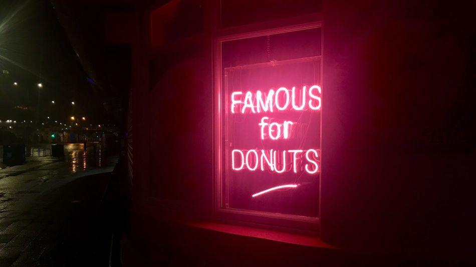 Neon Doughnuts. Beautiful Rain Night Illuminated Night No People Neon Architecture