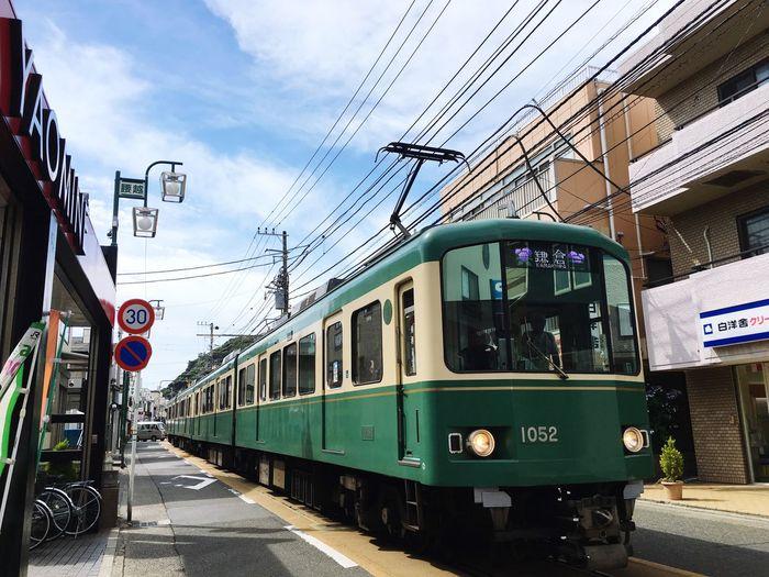 Good Times Japan Enoden #Koshigoe Koshigoe Kamakura Rail Transportation Transportation Mode Of Transportation Public Transportation Train Sky The Street Photographer - 2018 EyeEm Awards Train - Vehicle