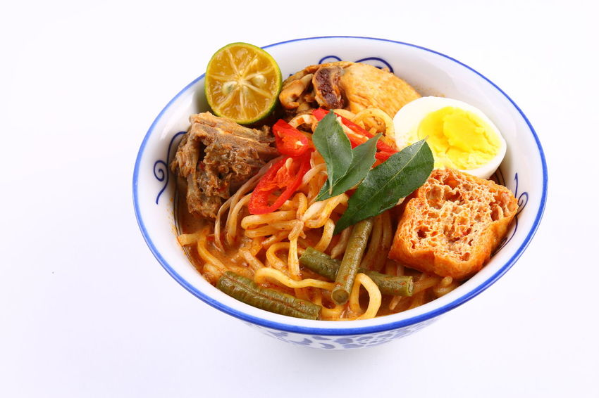 Asian street food, curry noodles. Isolated on white ASIA Asian  Bowl Chicken Crepe Cuisine Culinary Curry Food Isolated Malaysia Malaysian Food Noodles Singapore Singaporean Spicy Street Foods White