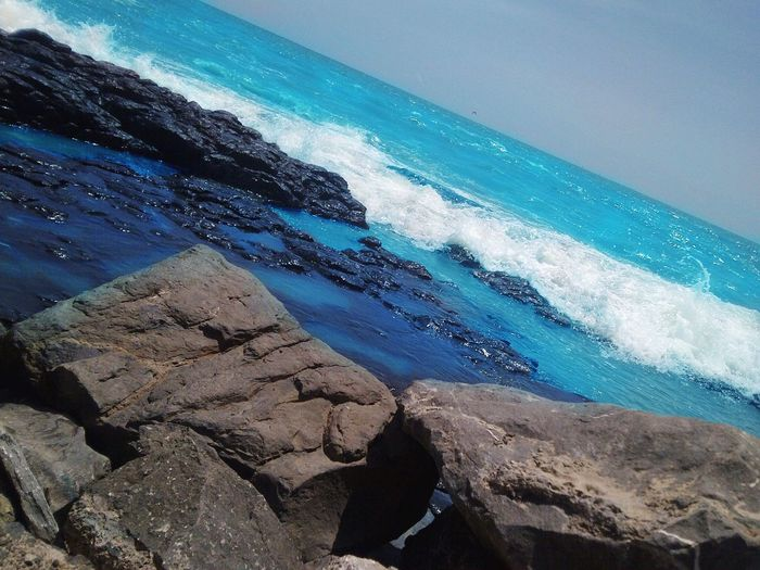 Sea face Sea Water Beauty In Nature Rock - Object Wave Nature Scenics Blue Horizon Over Water Beach Neweyeemhere NewEyeEmPhotographer Day Sky No People