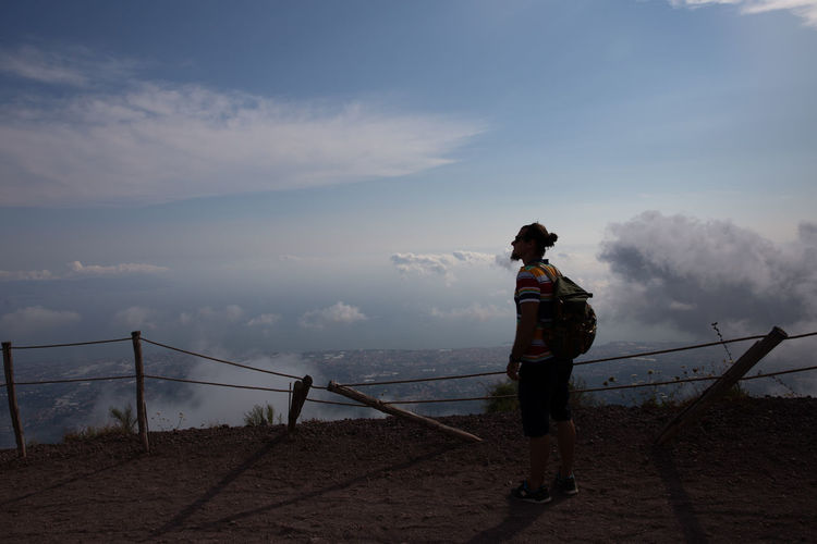 Sky One Person Full Length Standing Cloud - Sky Real People Lifestyles Beauty In Nature Leisure Activity Railing Rear View Nature Water Scenics - Nature Casual Clothing Women Non-urban Scene Sea Looking At View Outdoors Vesuvio Vesuvius  Italy