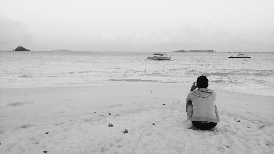 Alone Beach Black And White Calaguas Chill Coastline FootPrint Getting Away From It All Horizon Over Water Philippines Recreational Pursuit Sand Sea Shore Sitting On The Beach Soul Searching Vacations Water