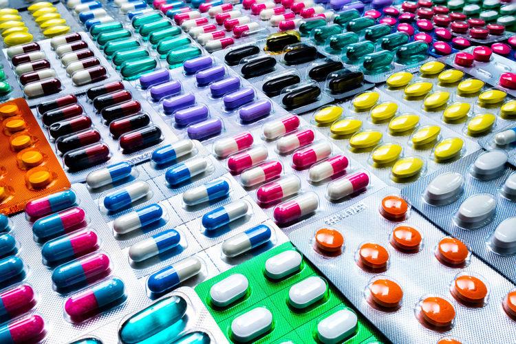 Full frame shot of multi colored blister packs