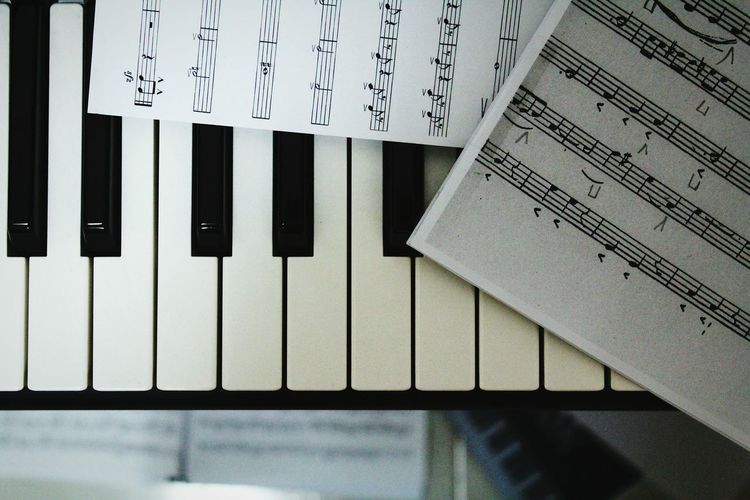 Close-Up Of Music Sheets On Piano