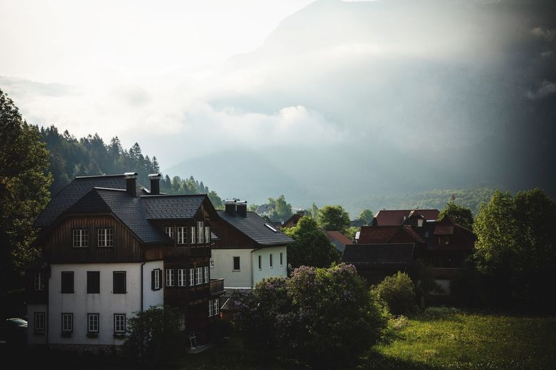 Houses amidst trees and buildings against sky
