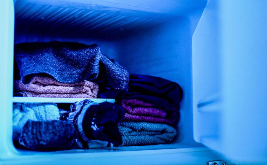 Blue Indoors  Unfamiliar Testing Clothes Refrigerator Storage