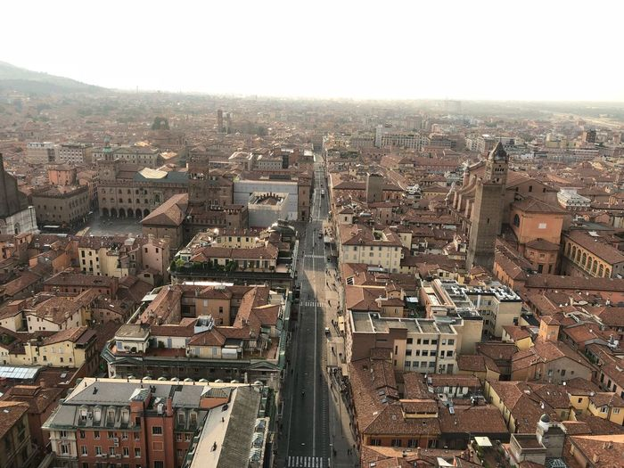 Bologna, Italy 24/08/2018 Streets Emilia Romagna Tower Roofs Torre Asinelli Bologna ShotOnIphone Nofilter Building Exterior City Built Structure Cityscape Architecture Building High Angle View Crowd Residential District Crowded Outdoors Sky City Life Office Building Exterior Sunlight Travel Destinations Nature Day Aerial View Urban Sprawl