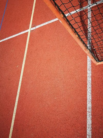 High angle view of net on sports court