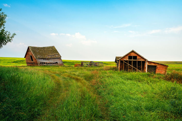 Abandoned Homestead Abandoned Architecture Building Building Exterior Built Structure Cloud - Sky Day Environment Field Grass Green Color History House Land Landscape Nature No People Old Outdoors Plant Ruined Sky