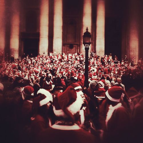 Santacon London St Pauls Cathedral Large Group Of People Crowd Lifestyles Santas Fresh On Eyeem  Art Is Everywhere Postcode Postcards