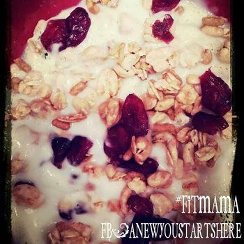 The EyeEm Breakfast Club Protein Crunch with Vanilla greek yogurt and Dried Cranberries