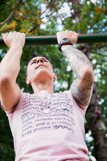 Young bodybuilder exercising