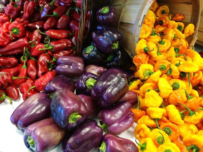 Peppers Bushel Baskets Yellow Purple Red Fresh Produce Fresh Spilled