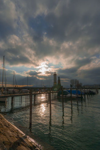 Water Sea Outdoors Cloud - Sky Tranquility Sky Sunset Landscape Beauty In Nature Beach No People Vacations Night Scenics Horizon Over Water Nature Harbor Lindau Lindau Insel Lindau Bodensee Boat Deck Lighthouse