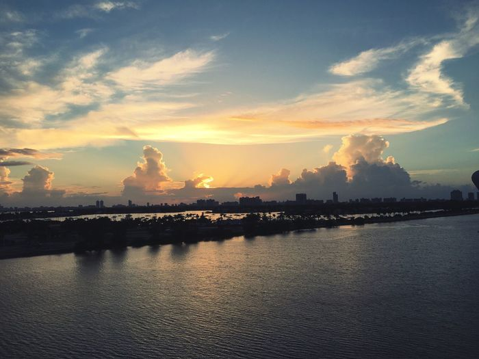 Cloud Sky City Skyline Shadow Sunrise Sunset Urban Miami Floride