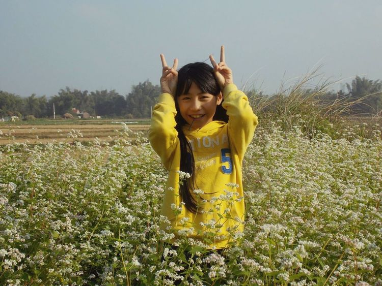 Yellow One Person Childhood Front View Field Real People Girls