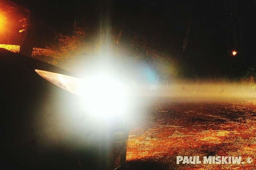My Car Car Headlight Illuminated Night Glowing Into The Night Light Beam Check This Out