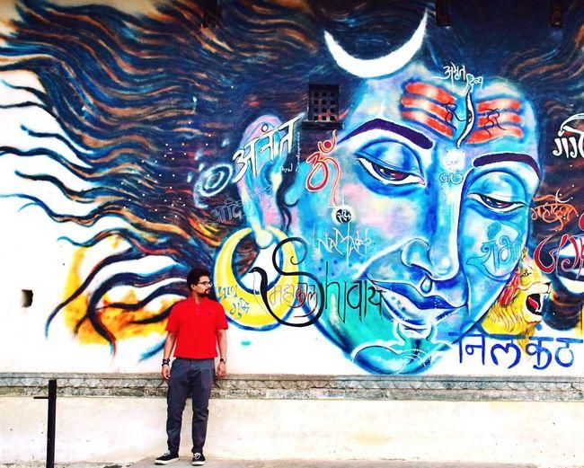 moksha Neelkanth Meluha India Indianstreets Udaipur Worship Om Namah Shivaya Standing Men Full Length Street Art Graffiti Art And Craft Art Wall Spray Paint Human Representation Idol Stories From The City