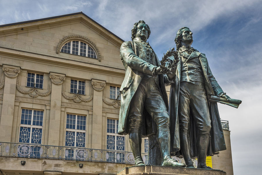 Goethe and Schiller Statue in Weimar, Germany Schiller Architecture Building Exterior Built Structure Craft Friedrich Schiller Goethe History Low Angle View No People Sculpture Statue