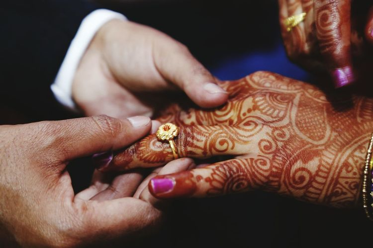 Close-Up Of Human Hands With Henna Tattoo
