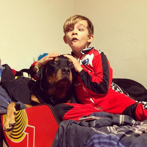 Pets Dog One Animal Domestic Animals Boys Mammal Animal Themes Smyle Love Mylove Dogs Of EyeEm Rottweilerlove Rottweiler One Boy Only Sitting Childhood Child Indoors  School Uniform Real People Children Only Males  Portrait Friendship People