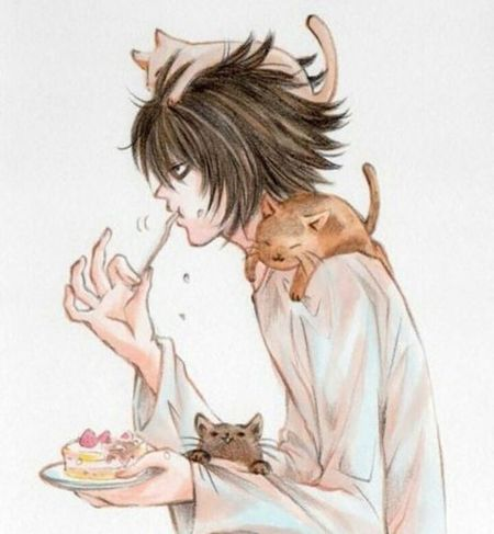 L Anime DeathNote Lightyagami Blackhair Cats Animal Tea
