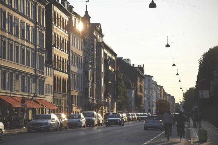 Architecture Bike City Life Copenhagen Hanging Lamp Outdoors Sunset