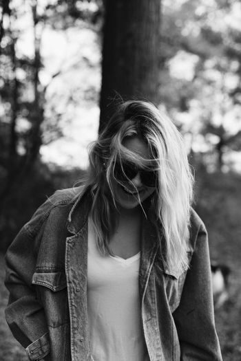 smile baby smile One Person Smiling Blackandwhite Jean Jacket Model Portrait Real People Long Hair Focus On Foreground Casual Clothing Young Women Tree Leisure Activity Outdoors Day Young Adult Lifestyles Nature Standing Forest People Happy