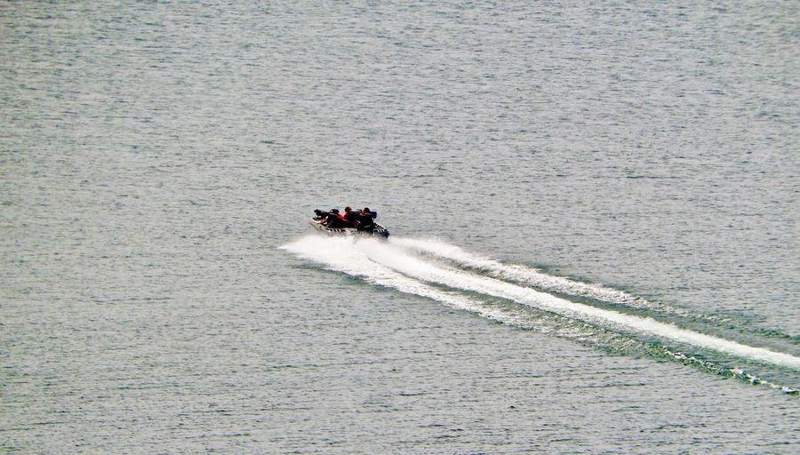 High angle view of jet boat on sea