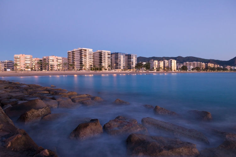 Benicasim Benicassim Mediterranean  Nature SPAIN València Architecture Beauty In Nature Blue Building Exterior Built Structure Castellón City Cityscape Clear Sky Illuminated Landscape Motion Nature Night No People Ocean Outdoors Scenics Sea Sky Skyscraper Water Waterfront