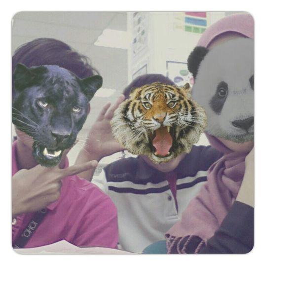 my classmate Yang suka selfie . Studying
