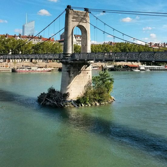 Hello World Bridge View Old River Water Blue Sky Eteindien