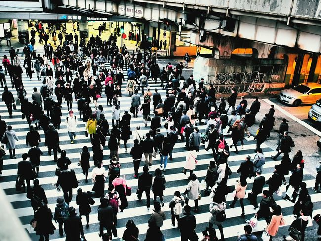 Rush Hour Outdoors Commuter Streetphoto_color Street Photograph Street Photograpy Japan Japan Photography Pedestrian Cityscape Japanese Style Osaka Street Photography Osaka Station Pedestrian Crossing Crowded Streets City Life High Angle View Osaka 大阪 Streetphoto Grafitti Bridge - Man Made Structure Japanese