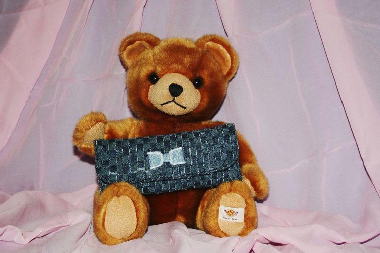 Madri creative (aka foto abbastanza imbarazzanti postate per costrizione) DIY Glasses Case Jeans Denim Ribbon Fiocco Teddy Bear Madre Mom Hard Rock Cafe
