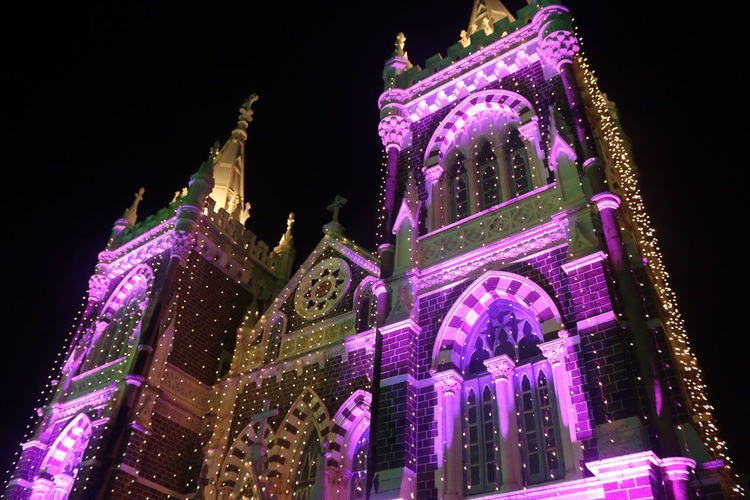 Architecture Art And Craft Building Exterior Church Fair Famous Place Illuminated Light Low Angle View Mount Mary Church Mount Mary Fair Mumbai Night Old Purple Religion Spirituality Tourism Travel