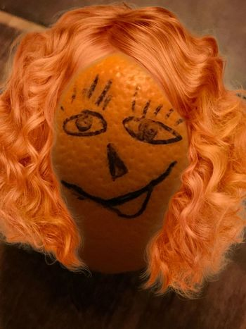 Orange Orange Face Art And Craft Indoors  Close-up One Person Blond Hair Day