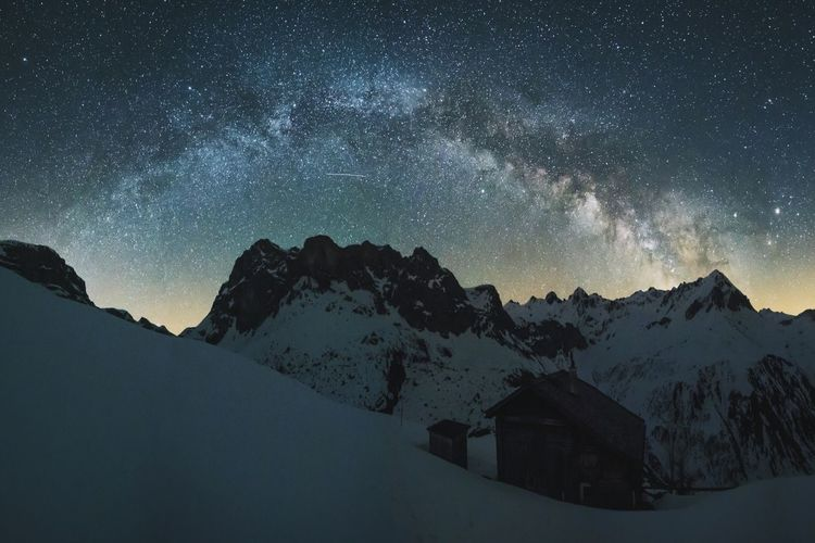Milkyway The Great Outdoors - 2016 EyeEm Awards Outdoors Nature Mountains Switzerland Snow Cabin Panorama Nightphotography Night Stars Starry Night Starry Starry Sky Universe The Essence Of Summer The Following Adventure Landscape The Magic Mission