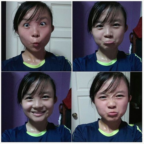Shag face after a slow, long distance jog. It has been so long since I went for a long distance jog(Maybe not really long la LOL) but stamina sibei cuiii :/. Needa get back my stamina :X. Mycuifacewithperspiration Redredface Nofilter Sweatlikeshytlol