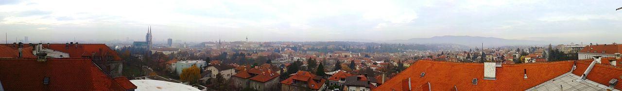 Panoramic Cityscape Outdoors City Fog Sky Architecture Urban Skyline