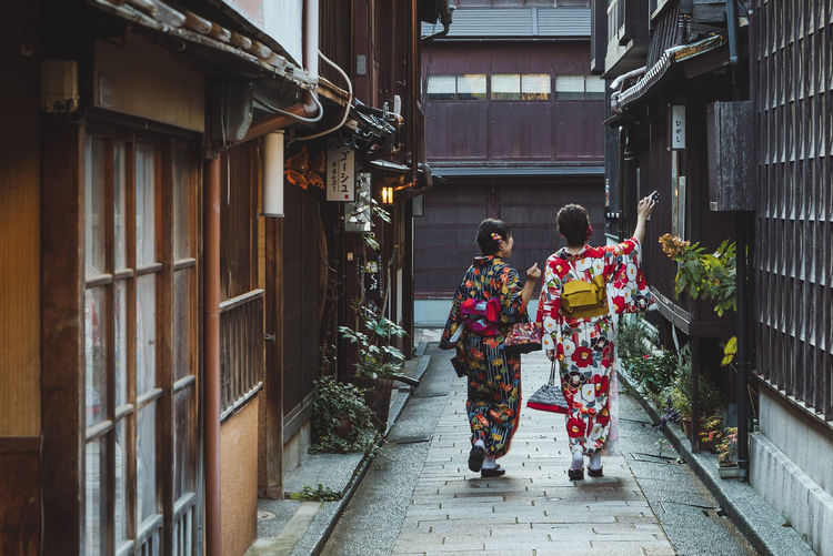 Geisha Japan Street Shot Japan Streetphoto_color The Street Photographer - 2018 EyeEm Awards Adult Architecture Built Structure Japan Culture Japan Streetphotography Kimono Kimono Girl Lifestyles Rear View Religion Streetphotography Traditional Clothing Two People Women