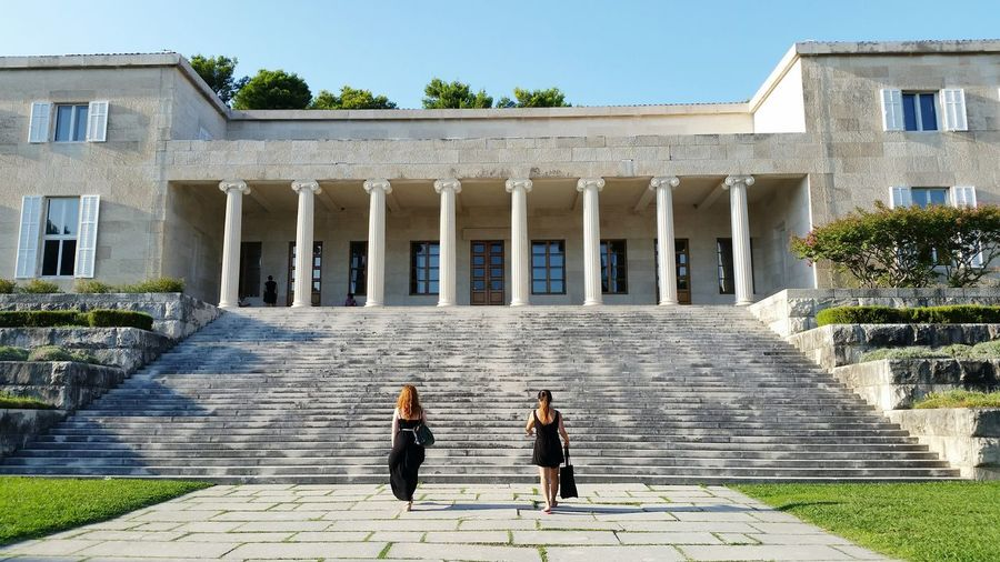 Architecture Steps Built Structure Building Exterior Architectural Column Outdoors History Steps And Staircases Symmetry Summertime Two People Day Sunlight Women Real People Full Length Togetherness Friendship