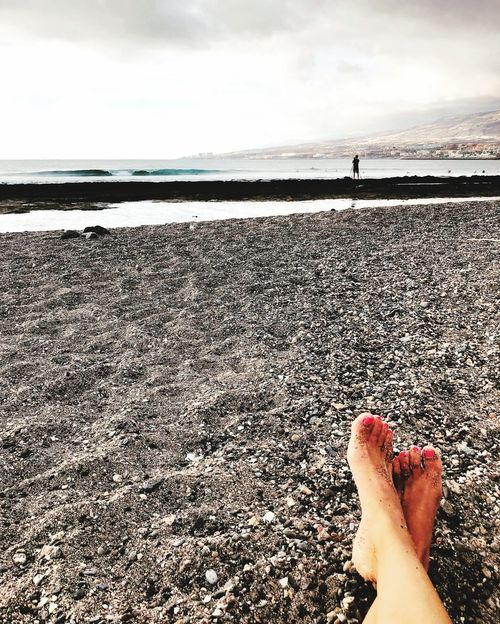 Tenerife Playa De Las Americas Canary Islands Islas Canarias Sea Water Sky One Person Real People Human Body Part Beach Body Part Land Horizon Over Water Human Leg Horizon Cloud - Sky Leisure Activity Nature Personal Perspective Lifestyles Low Section Human Foot Outdoors