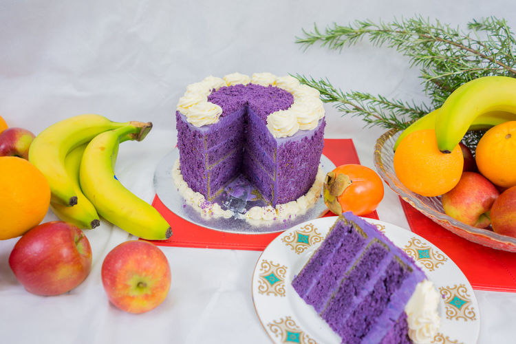 Close-Up Of Cake And Fruits On Table During Christmas