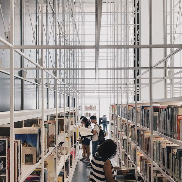 Library Indoors  Bookshelf Shelf Book Working People Standing Occupation Coworker Architecture